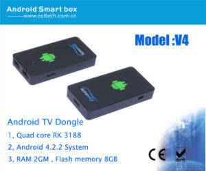 China Quad Core Cm-V4 Mini PC Android TV Box with Rk3188 and