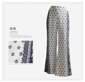 Women Clothing Fashion Flower Print Ladies Wide Leg Rayon Pants pictures & photos
