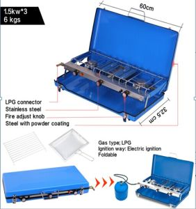 2 Burner Portable Folding Gas Grill BBQ Stove for Outdoor pictures & photos