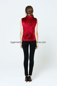 Hot Sale Fashion Faux Suede Red Leather Vest Zipper Woman Waistcoat pictures & photos