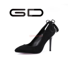 Mamufacture Design Suede Leather Black Women High Heel Dress Shoes