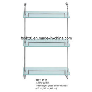 3 Layers Bathroom Accessory Ss Glass Shelf with Rail (YMT-3114) pictures & photos