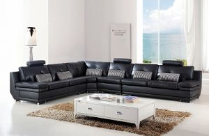 China Italian Big Corner Living Room Genuine Black Leather ...
