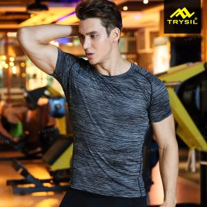 Fashion Mens Tights Sport Shirt Gym T Shirt Active Wear