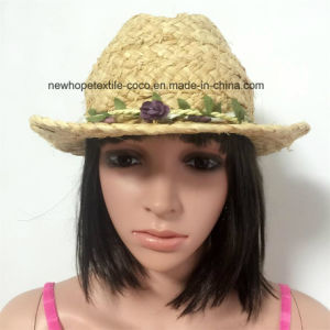 100% Straw Hat, Fashion Lady′s Style with Flowers