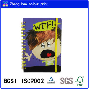 School Book/A5 Note Pad/Wtf Cover Hardcover Spiral Binding Notebook with Yellow Elastic (150527006)