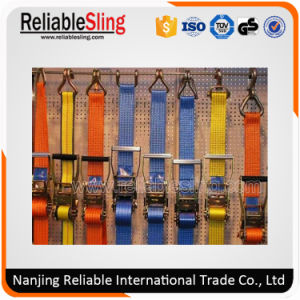 Polyester Webbing Material Adjustable Ratchet Cargo Strap with Endless Loop or Metel Hooks pictures & photos