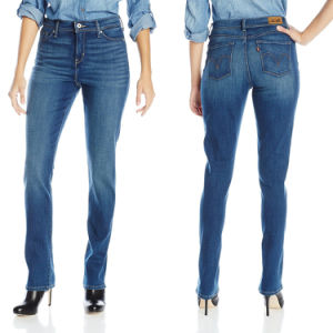 China Hot Sale Ladies Slim Fit Blue Stretch Skinny Jeans - China