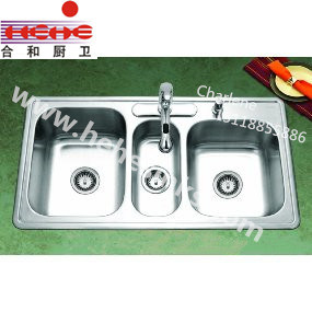 Triple Bowl Stainless Steel Kitchen Wash Sink (11048B) pictures & photos