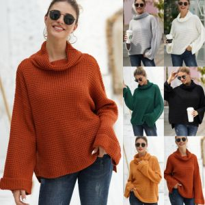 Fashion Solid Turtleneck Knitted Thick Sweater for Women Pure High Collar Heavy Knitwear Sweaters Winter