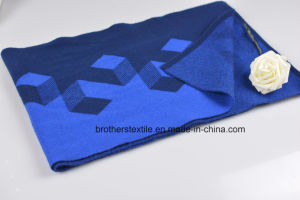 Men′s Fashion Blue Wool Cashmere Blended Knitted Scarf pictures & photos