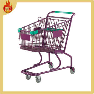 High Quality Hot Sale Steel Shopping Trolley with 4 Wheel pictures & photos