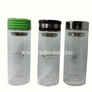 Borosillicate Glass Water Bottle with Tea Strainer Dn-172 pictures & photos