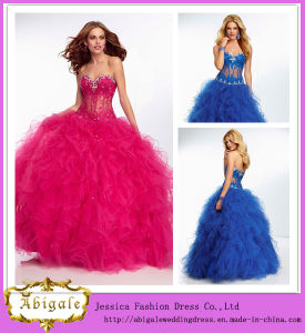 Hot Sale Style Sexy Ball Gown Sweetheart Low Back See Through Bodice Ruffled Tulle Skirt Beaded Wedding Evening Gowns