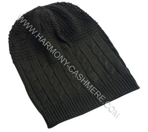 Cashmere Knitted Cap with Cable Pattern pictures & photos