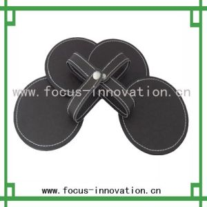 Round Leather Glass Coaster (F2444)