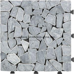 Outdoor Interlocking Flooring Natural Stone DIY Travertine Slab Mosaic Garden  Tile