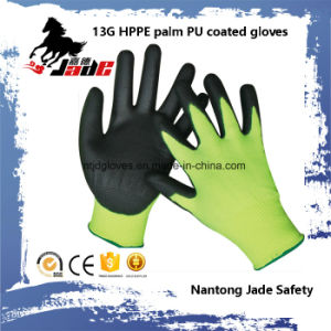 Safety Glove, 13G Hppe Safety PU Coated Cut Resistant Glove Level Grade 3 pictures & photos