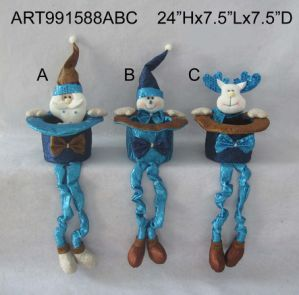 Santa, Snowman and Moose Spring Legged Decoration Gift, 3 Asst pictures & photos
