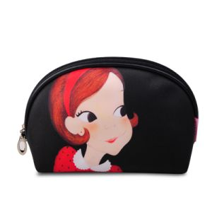 Cartoon Printed Girl Face Dome Clutch/ Cosmetic Bag