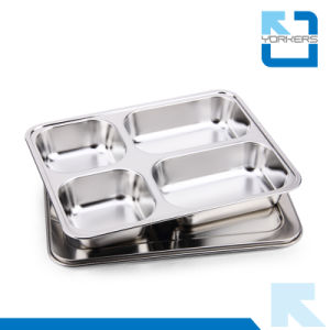 Factory Price 4 Compartments Stainless Steel Lunch Tray pictures & photos