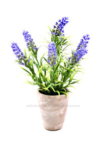 Artificial Flower Purple Lavender for Home and Wedding Decoration in Cement Pot