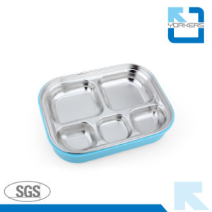 5 Compartment Plastic and Stainless Steel Lunch Box pictures & photos