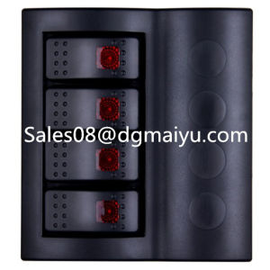 Caravan Combined Automotive Switch 4 Gang Rocker Switch Panel with Red LED pictures & photos