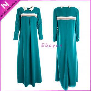 Muslim Women Fashion Colorblocked Shirt Collar Customized Maxi Abaya