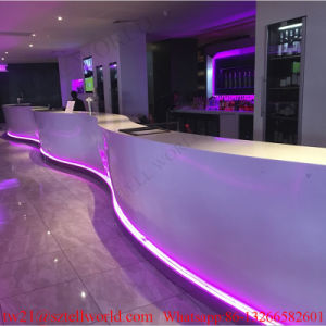 China Long Curved Shape White Corian LED Lighting Commercial Bar