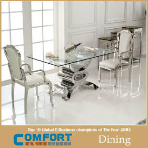 Glass Dining Stainless Steel Table Furniture Set