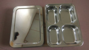 Stainless Steel Fast Food Tray/Food Plate with Lid