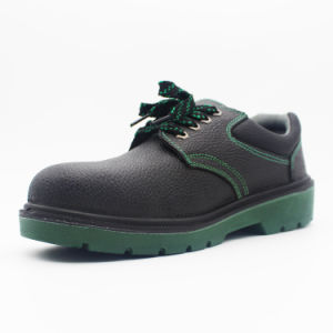 Black Customized Leather Steel Toe Cap Safety Work Shoes with Green Outsole