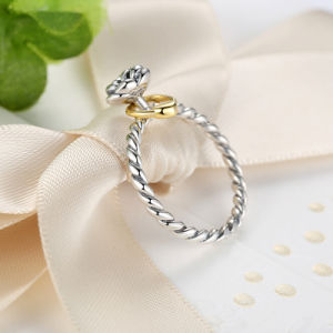 Genuine 925 Sterling Silver Finger Ring with Gold Color Heart Charm for Women Wedding Sterling Silver Jewelry Mood Ring pictures & photos