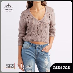 Ribbed Ladies Acrylic V Neck Cable Knit Jumper pictures & photos