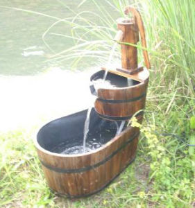 Two Tier Barrel Water Fountain with Wooden Bump