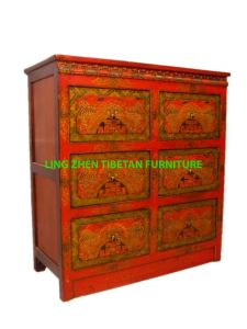Tibeta Hand Painted And Carved Tv Stand Table Chest Lz00003