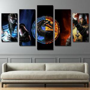 5 Piece Canvas Printed Comic Star War Poster Mortal Kombat Painting Roomdecor Print