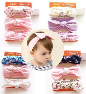 2017 Cotton Ribbon Bowknot Head Band Fashion Baby Hair Accessories
