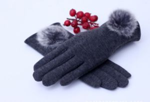 Fashional Gloves with Fur Pompoms