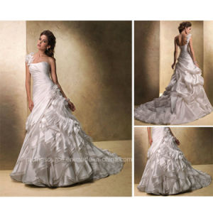 Detachable One-Shoulder Puffy Wedding Gown Bridal Dress pictures & photos