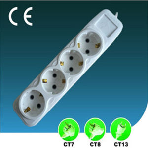 EU Outlet Four Ways Extension Socket with Switch