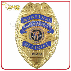 Custom 3D Engraved Gold Plated Police Chaplain Pin Badge pictures & photos
