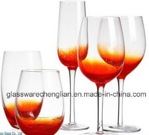 Hand Made Clear Wine Glass with Bubbles (B-WG041) pictures & photos