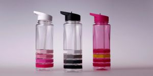 Plastic Water Bottle with Silicone Ring Colorful Sport Bottle
