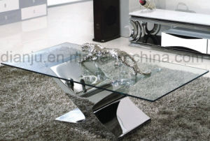 Silvery Stainless Steel Furniture Glass Coffee Table (CT6033)