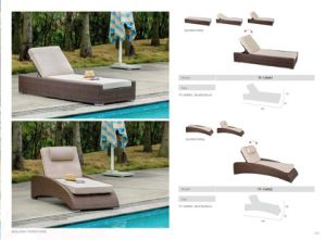 Beach Rattan Wikcer Sun Lounger with Adjustable Backrest