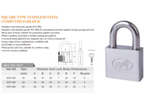 Vane Key Padlock High Quality Square Type Stainless Steel Padlock pictures & photos