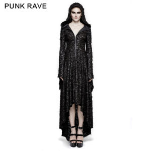 Q-308 Gothic Decadent Threadbare Knitted Christmas Hooded Dress
