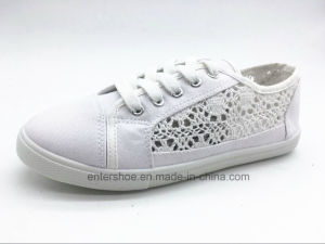 White Summer Canvas Shoes for Ladies (ET-AL160244W)
